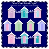 Beach Huts - Printable Clipart - Set One - Designers Resource