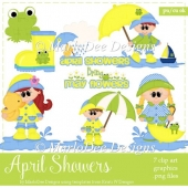 April Showers - Frogs & Children Clip Art Collection