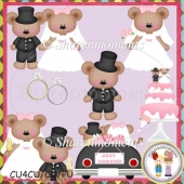Just Married Bears Designer Resource Graphic