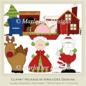 1225 Santa Claus Lane Christmas Clip Art by MarloDee Designs