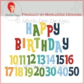 Colorful Birthday Numbers & Word Art Pkg 2