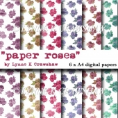 """PAPER ROSES"" 6 X A4 high quality digital papers - CUOK"