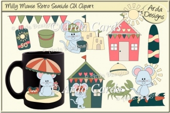 Milly Mouse Retro Seaside CU Clipart