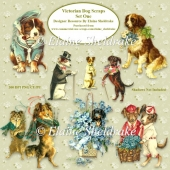 Victorian Dogs Scraps Set One For Cardmaking & Scrapbooking