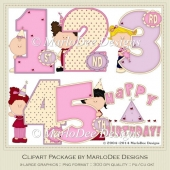 Birthday Years Girls Set Clip Art by MarloDee Designs