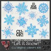 Let it Snow! - Snowflake - CU clipart