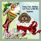 Candy Cane, Stocking, Puppy in Gift Box Template