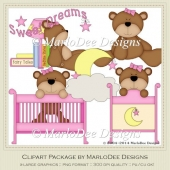 Beddy Bye Bear Pink Baby Themed Clip Art by MarloDee Designs