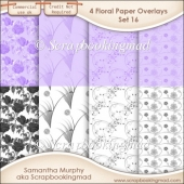 Floral Paper Overlays - Set 16 - PNG FILES - CU OK