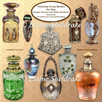 Victorian Scent Bottles Set One Designer Resource PNG 300 dpi CU
