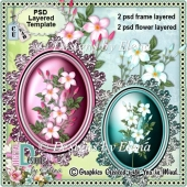 Delicate Flowers and Frame PSD Layered Template