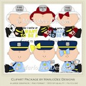 Baby Police & Fire Clip Art Graphics by MarloDee Designs