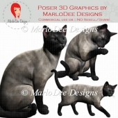 Blue Siamese Cat Graphics by MarloDee Designs