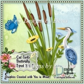 Cat Tails Butterfly Egret Set 2