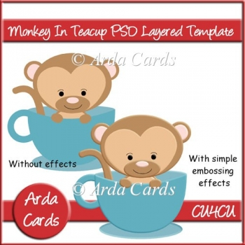 Monkey In Teacup PSD Layered Template