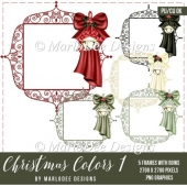 Christmas Frame with Bow & Bell Graphics | Christmas Colors 1