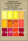Watercolour Styles for PS, Reds,Orange,Yellows. Commercial Use