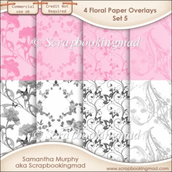 Floral Paper Overlays - Set 5 - PNG FILES - CU OK