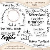 11 Get Well Sentiments Word Art PNG - CU OK