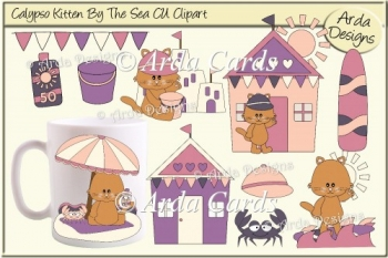 Calypso Kitten By The Sea CU Clipart