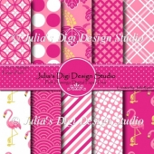 Pink Flamingo Digital Paper Pack
