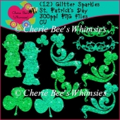 Glitter St. Patrick's Day Graphics, Set of 12