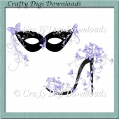Lilac Butterfly Mask And Shoe