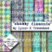 """SHABBY DIAMONDS"" - 10 x A4 digital collage papers CU OK"