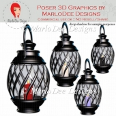 Black Finish Lantern Graphics (with lighted candles)