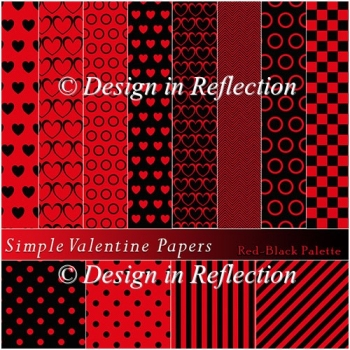 Simple Valentine Papers B - Red-Black Palette
