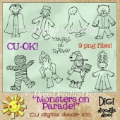 Monsters on Parade! Halloween themed CU doodles