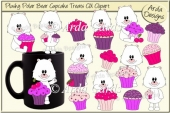 Plushy Polar Bear Cupcake Treats CU Clipart