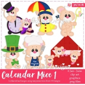 Calendar Mice - January through June - Clip Art Collection
