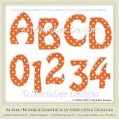 Easter Colors 2011 Candy Gloss Polka Dot Orange 1 Alpha/Numbers