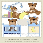 Beddy Bye Bear Blue Baby Themed Clip Art by MarloDee Designs