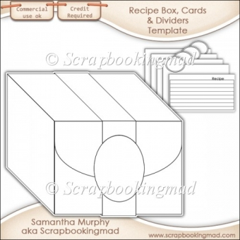 Recipe Box, Cards & Dividers Template CU OK