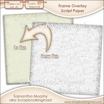 Frame Edge Script Paper Overlays - PNG FILES - CU OK