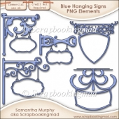 5 Blue Hanging Sign Elements