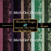November Color Palette 4 A4 size Digital Papers by Marlo