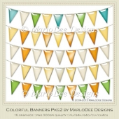 Colorful Banners Package 2 Graphics by MarloDee Designs