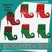 Jingle Bells Elf Boot Clipart