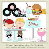 50's Diner Retro Clip Art Graphics by MarloDee Designs
