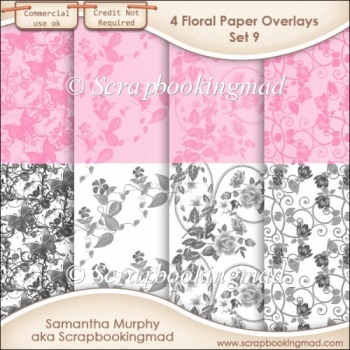 Floral Paper Overlays - Set 9 - PNG FILES - CU OK