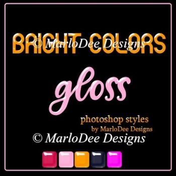Bright Colors Gloss Photoshop Styles by MarloDee Designs