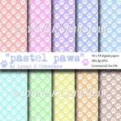 """PASTEL PAWS"" - 10 x A4 high quality digital papers CUOK"