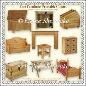 Pine Furniture - Printable Clipart - Set One Designers Resource