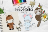 Animal Pals Wear Masks CU Clipart