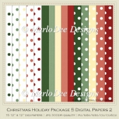 Christmas Holiday Package 5 Digital Papers 2