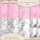Floral Paper Overlays - Set 7 - PNG FILES - CU OK