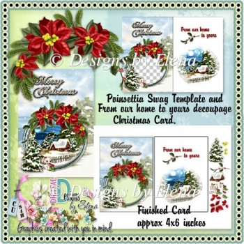 Poinsettia Swag Template and Decoupage Christmas Card